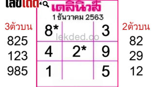 เลขเด็ดเลขเด่น เดลินิวส์ งวด 01/12/63 เน้นๆเลข 3 ตัว 2 ตัว ฟันธง!!